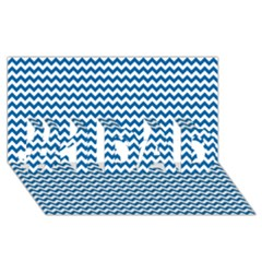 Dark Blue White Chevron  #1 Dad 3d Greeting Card (8x4)