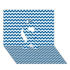 Dark Blue White Chevron  Ribbon 3d Greeting Card (7x5)  by yoursparklingshop