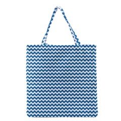Dark Blue White Chevron  Grocery Tote Bag by yoursparklingshop