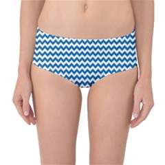 Dark Blue White Chevron  Mid Waist Bikini Bottoms by yoursparklingshop