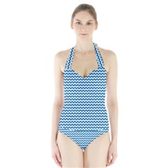 Dark Blue White Chevron  Women s Halter One Piece Swimsuit