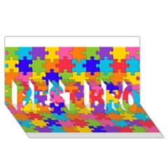 Funny Colorful Puzzle Pieces Best Bro 3d Greeting Card (8x4)