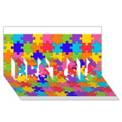 Funny Colorful Puzzle Pieces Best Sis 3d Greeting Card (8x4)  by yoursparklingshop