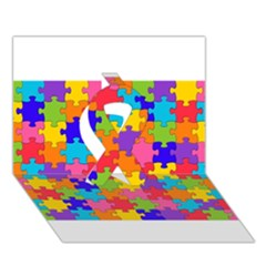 Funny Colorful Puzzle Pieces Ribbon 3d Greeting Card (7x5)  by yoursparklingshop