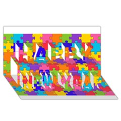 Funny Colorful Puzzle Pieces Happy New Year 3d Greeting Card (8x4)