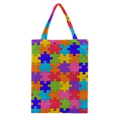 Funny Colorful Puzzle Pieces Classic Tote Bag by yoursparklingshop