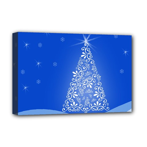Blue White Christmas Tree Deluxe Canvas 18  X 12   by yoursparklingshop