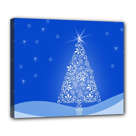 Blue White Christmas Tree Deluxe Canvas 24  X 20   by yoursparklingshop