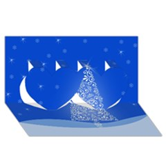 Blue White Christmas Tree Twin Hearts 3d Greeting Card (8x4)  by yoursparklingshop