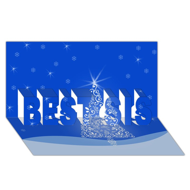 Blue White Christmas Tree BEST SIS 3D Greeting Card (8x4)