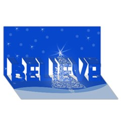 Blue White Christmas Tree Believe 3d Greeting Card (8x4)  by yoursparklingshop