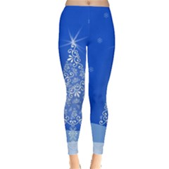 Blue White Christmas Tree Leggings  by yoursparklingshop