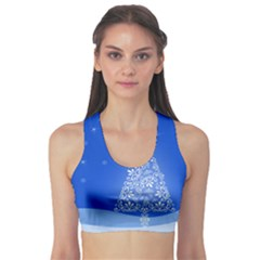 Blue White Christmas Tree Sports Bra by yoursparklingshop