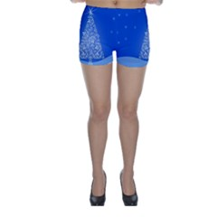 Blue White Christmas Tree Skinny Shorts by yoursparklingshop