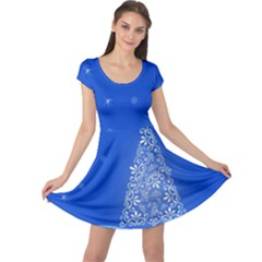 Blue White Christmas Tree Cap Sleeve Dresses by yoursparklingshop