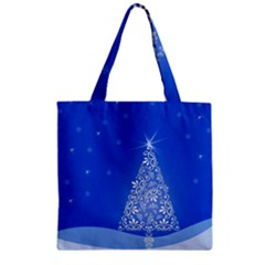 Blue White Christmas Tree Zipper Grocery Tote Bag by yoursparklingshop