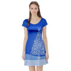 Blue White Christmas Tree Short Sleeve Skater Dress by yoursparklingshop