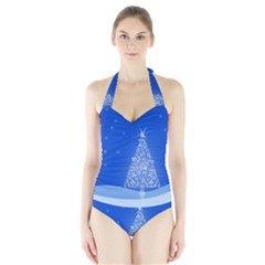 Blue White Christmas Tree Women s Halter One Piece Swimsuit by yoursparklingshop