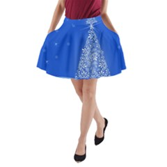 Blue White Christmas Tree A Line Pocket Skirt by yoursparklingshop