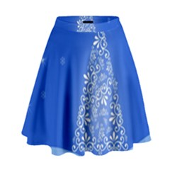Blue White Christmas Tree High Waist Skirt by yoursparklingshop