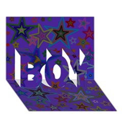 Purple Christmas Party Stars Boy 3d Greeting Card (7x5) by yoursparklingshop