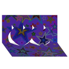 Purple Christmas Party Stars Twin Hearts 3d Greeting Card (8x4)  by yoursparklingshop