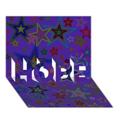 Purple Christmas Party Stars Hope 3d Greeting Card (7x5)