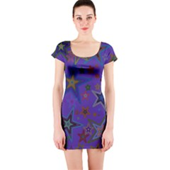 Purple Christmas Party Stars Short Sleeve Bodycon Dress by yoursparklingshop