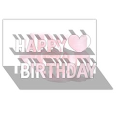 Pink White Love Rose Happy Birthday 3d Greeting Card (8x4)  by yoursparklingshop