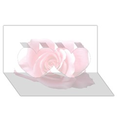 Pink White Love Rose Twin Hearts 3d Greeting Card (8x4)  by yoursparklingshop