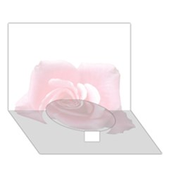 Pink White Love Rose Circle Bottom 3d Greeting Card (7x5)  by yoursparklingshop
