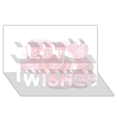 Pink White Love Rose Best Wish 3d Greeting Card (8x4)  by yoursparklingshop