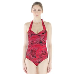 Red Love Roses Women s Halter One Piece Swimsuit by yoursparklingshop