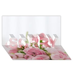 Romantic Pink Flowers Sorry 3d Greeting Card (8x4)  by yoursparklingshop