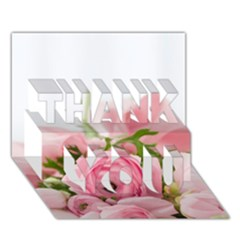 Romantic Pink Flowers Thank You 3d Greeting Card (7x5)  by yoursparklingshop