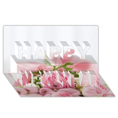 Romantic Pink Flowers Happy New Year 3d Greeting Card (8x4)  by yoursparklingshop