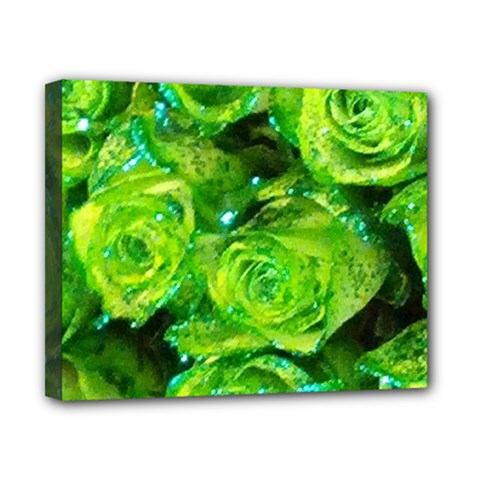 Festive Green Glitter Roses Valentine Love  Canvas 10  X 8  by yoursparklingshop