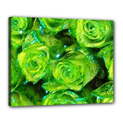 Festive Green Glitter Roses Valentine Love  Canvas 20  X 16  by yoursparklingshop