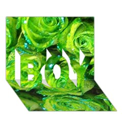 Festive Green Glitter Roses Valentine Love  Boy 3d Greeting Card (7x5) by yoursparklingshop