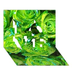 Festive Green Glitter Roses Valentine Love  Love 3d Greeting Card (7x5)  by yoursparklingshop