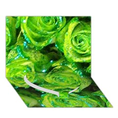 Festive Green Glitter Roses Valentine Love  Heart Bottom 3d Greeting Card (7x5)  by yoursparklingshop