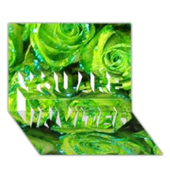 Festive Green Glitter Roses Valentine Love  You Are Invited 3d Greeting Card (7x5)