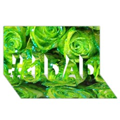 Festive Green Glitter Roses Valentine Love  #1 Dad 3d Greeting Card (8x4)  by yoursparklingshop