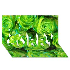 Festive Green Glitter Roses Valentine Love  Sorry 3d Greeting Card (8x4)  by yoursparklingshop