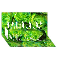 Festive Green Glitter Roses Valentine Love  Merry Xmas 3d Greeting Card (8x4)  by yoursparklingshop
