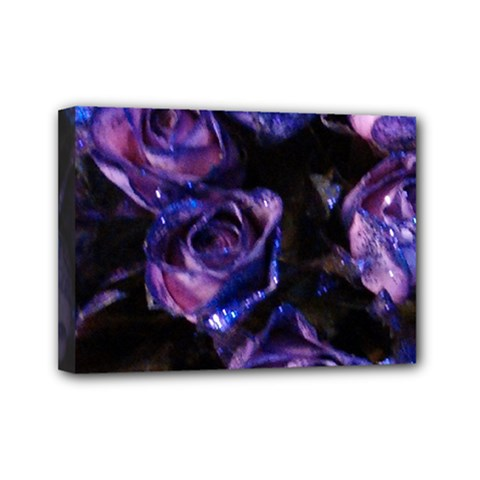 Purple Glitter Roses Valentine Love Mini Canvas 7  X 5  by yoursparklingshop