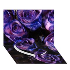 Purple Glitter Roses Valentine Love Heart Bottom 3d Greeting Card (7x5)  by yoursparklingshop