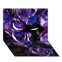 Purple Glitter Roses Valentine Love Clover 3d Greeting Card (7x5)  by yoursparklingshop