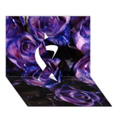 Purple Glitter Roses Valentine Love Ribbon 3d Greeting Card (7x5)  by yoursparklingshop