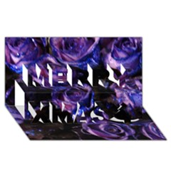 Purple Glitter Roses Valentine Love Merry Xmas 3d Greeting Card (8x4)  by yoursparklingshop